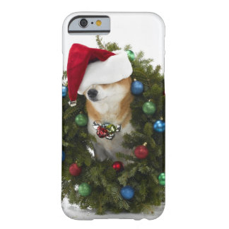 Shiba Inu dog wearing Santa hat sitting in Barely There iPhone 6 Case