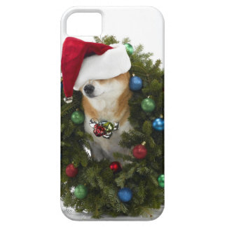 Shiba Inu dog wearing Santa hat sitting in iPhone 5 Covers