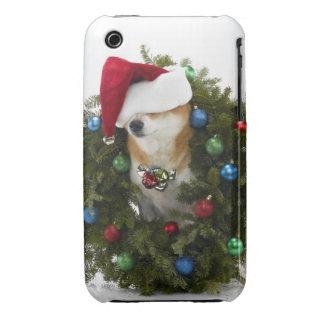Shiba Inu dog wearing Santa hat sitting in iPhone 3 Case-Mate Case