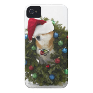 Shiba Inu dog wearing Santa hat sitting in iPhone 4 Case-Mate Case