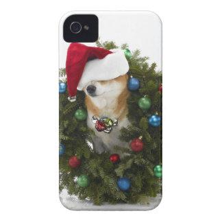 Shiba Inu dog wearing Santa hat sitting in iPhone 4 Case-Mate Case