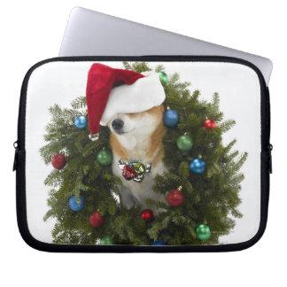 Shiba Inu dog wearing Santa hat sitting in Laptop Computer Sleeves