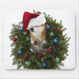 Shiba Inu dog wearing Santa hat sitting in Mouse Pad