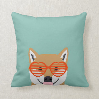 Shiba Inu glasses dog cute shiba inu puppy gifts Throw Pillow