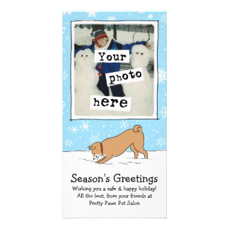 Shiba Inu in the Snow Holiday with Custom Text Card
