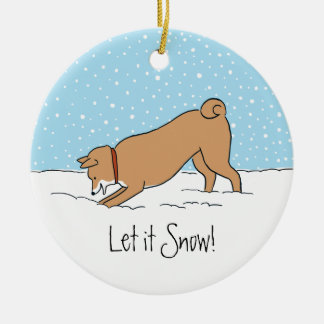 Shiba Inu Let it Snow - Happy Dog Holiday Double-Sided Ceramic Round Christmas Ornament