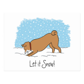 Shiba Inu Let It Snow - Happy Dog Holiday Postcard
