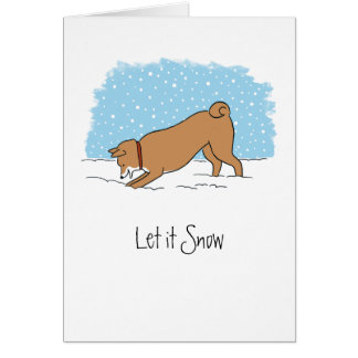 Shiba Inu lo dejó nevar - navidad feliz del perro Felicitaciones