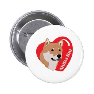 Shiba Inu Love Heart Pinback Buttons