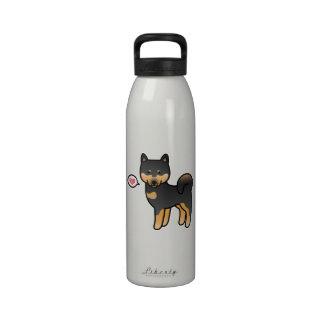Shiba Inu negro y amor del moreno Botellas De Beber