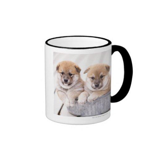 Shiba Inu puppies in aluminum tub Ringer Coffee Mug