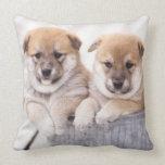 Shiba Inu puppies in aluminum tub Throw Pillow