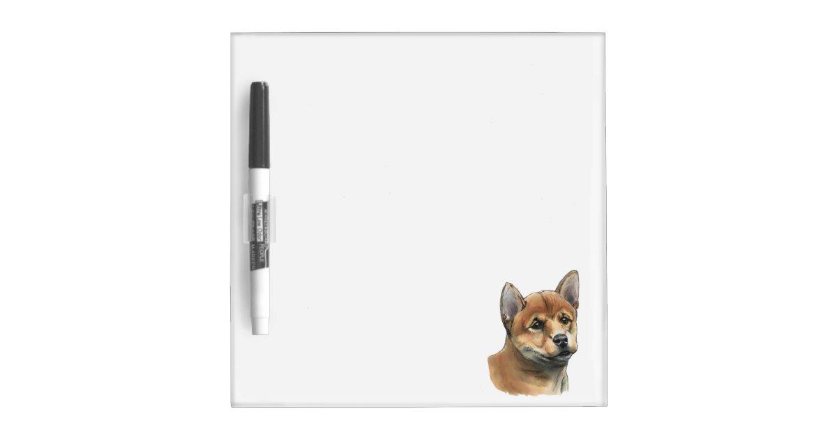 shiba inu puppy drawing dry erase board