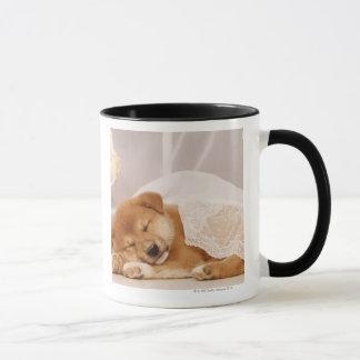 Shiba Inu puppy sleeping under a net curtain Mug