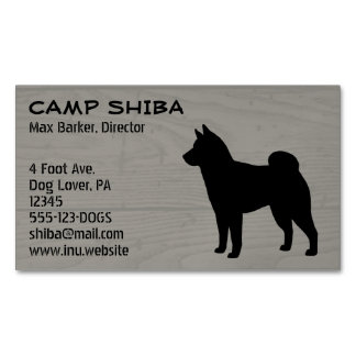 Shiba Inu Silhouette Wood Style Magnetic Business Card
