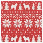 Shiba Inu Silhouettes Christmas Pattern Red Fabric