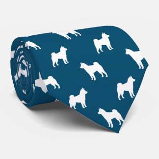 Shiba Inu Silhouettes Pattern Blue Tie
