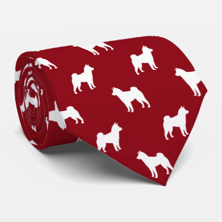 Shiba Inu Silhouettes Pattern Red Tie