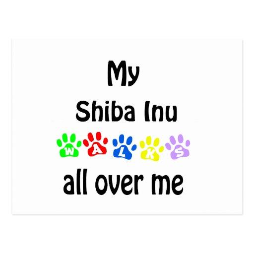 Shiba Inu Walks Design Postcard