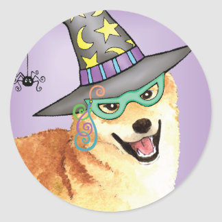 Shiba Inu Witch Classic Round Sticker