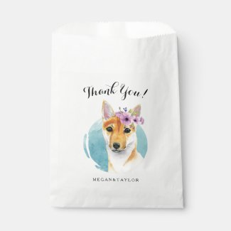 Shiba Inu with Flower Crown Watercolor Painting Favor Bag
