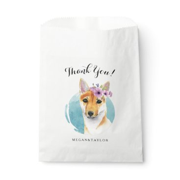 Bride Themed Shiba Inu with Flower Crown Watercolor Painting Favor Bag