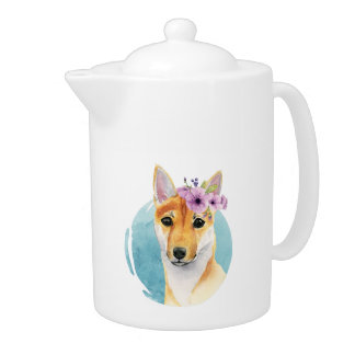 Shiba Inu with Flower Crown Watercolor Painting Teapot