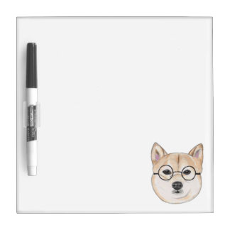 Shiba Inu with Oversized Round Framed Glasses Dry Erase Board