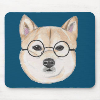 Shiba Inu with Oversized Round Framed Glasses Mouse Pad