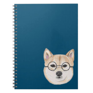Shiba Inu with Oversized Round Framed Glasses Notebook