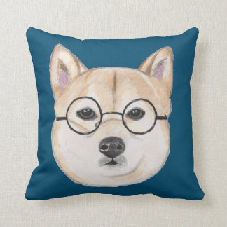 Shiba Inu with Oversized Round Framed Glasses Throw Pillow