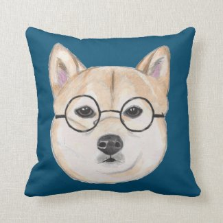 Shiba Inu with Oversized Round Framed Glasses