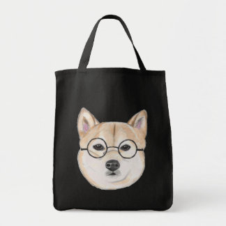 Shiba Inu with Oversized Round Framed Glasses Tote Bag