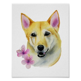 Shiba Inu with Sakura Watercolor Painting Poster