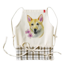 Shiba Inu with Sakura Watercolor Painting Zazzle HEART Apron