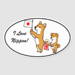 Shiba Inus and Japanese Flags Oval Sticker
