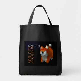 Shiba Puppy 3D Digital Art Dog Year 2018 Cotton B Tote Bag