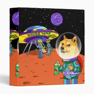 Shibe Doge Astro and the Aliens Memes Cats Cartoon 3 Ring Binder