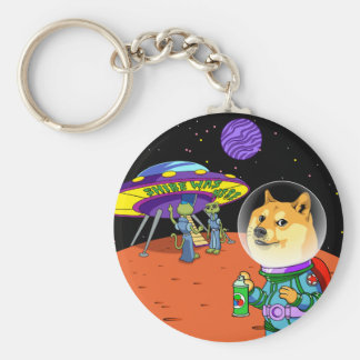Shibe Doge Astro and the Aliens Memes Cats Cartoon Basic Round Button Keychain