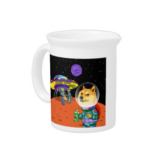 Shibe Doge Astro and the Aliens Memes Cats Cartoon Beverage Pitchers