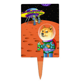 Shibe Doge Astro and the Aliens Memes Cats Cartoon Cake Topper