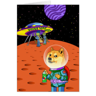 Shibe Doge Astro and the Aliens Memes Cats Cartoon Card