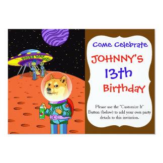 Shibe Doge Astro and the Aliens Memes Cats Cartoon 5x7 Paper Invitation Card