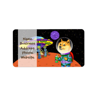 Shibe Doge Astro and the Aliens Memes Cats Cartoon Address Label