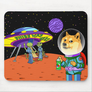 Shibe Doge Astro and the Aliens Memes Cats Cartoon Mouse Pad