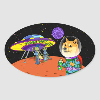 Shibe Doge Astro and the Aliens Memes Cats Cartoon Oval Sticker