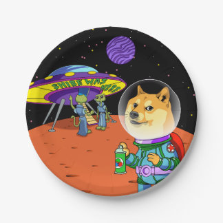 Shibe Doge Astro and the Aliens Memes Cats Cartoon Paper Plate