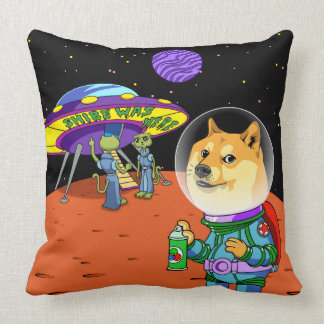 Shibe Doge Astro and the Aliens Memes Cats Cartoon Pillow
