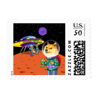 Shibe Doge Astro and the Aliens Memes Cats Cartoon Postage