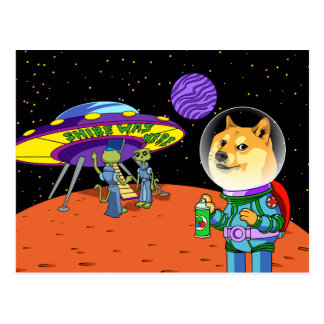 Shibe Doge Astro and the Aliens Memes Cats Cartoon Postcard